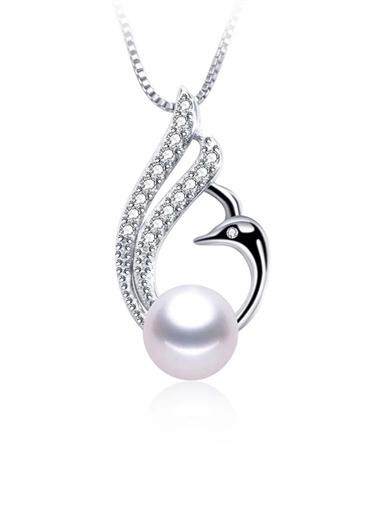 Enesstore Gümüş Doğal İnci Kuğu Model Bayan Gümüş Kolye Beyaz